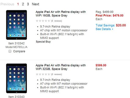 Phu kien iPhone - Mức giảm giá 20 USD của iPad Air bản Wi-Fi