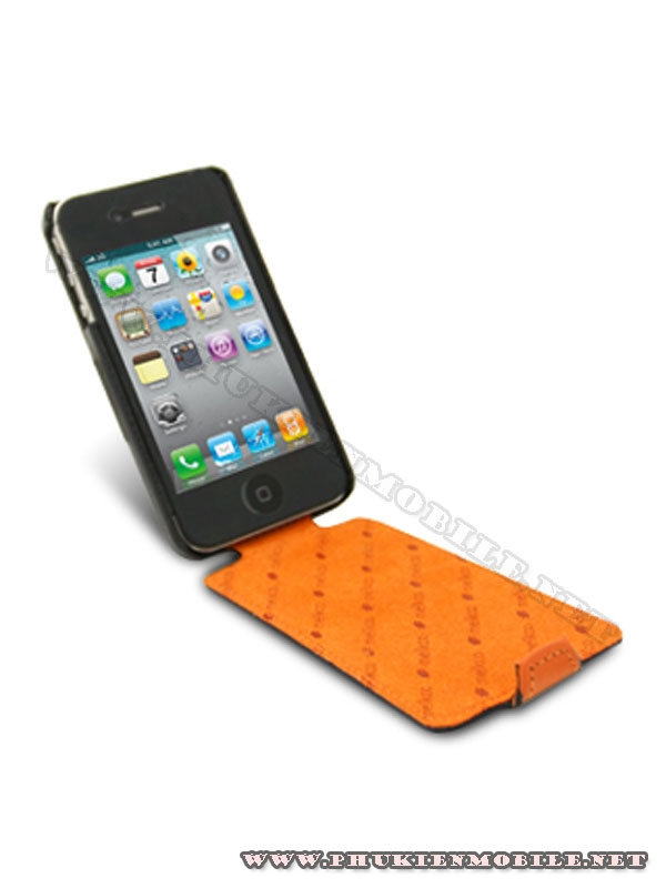 Bao da iPhone 4 Melkco Leather Case - Limited Edition Jacka Type (Black/Orange LC)  2