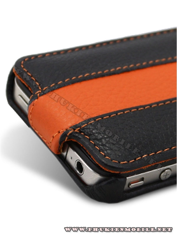 Bao da iPhone 4 Melkco Leather Case - Limited Edition Jacka Type (Black/Orange LC)  3