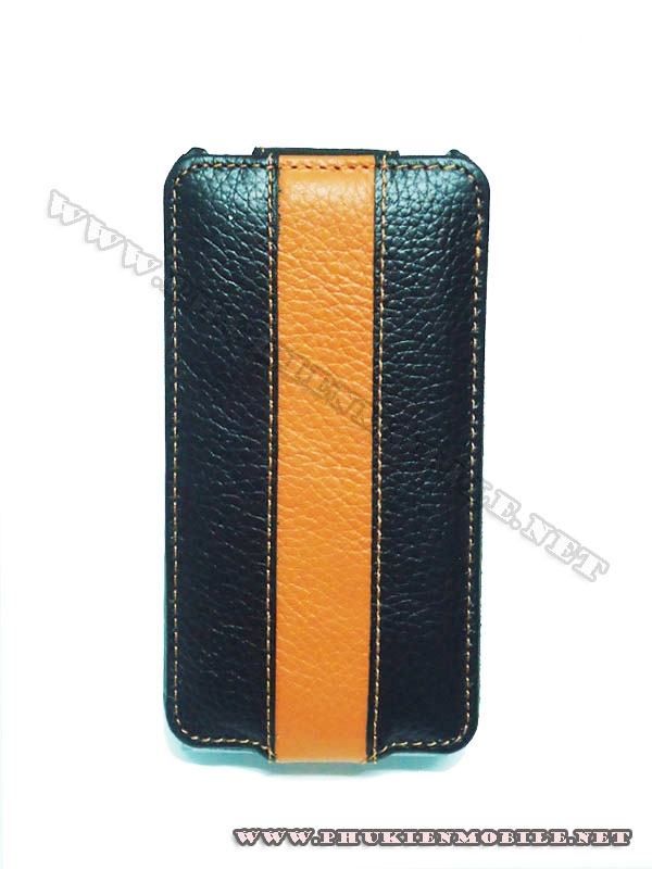 Bao da iPhone 4 Melkco Leather Case - Limited Edition Jacka Type (Black/Orange LC)  5
