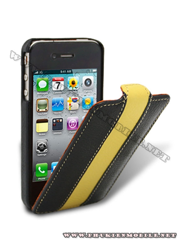 Bao da iPhone 4 Melkco Leather Case - Jacka Type (Đen/Vàng LC) 1