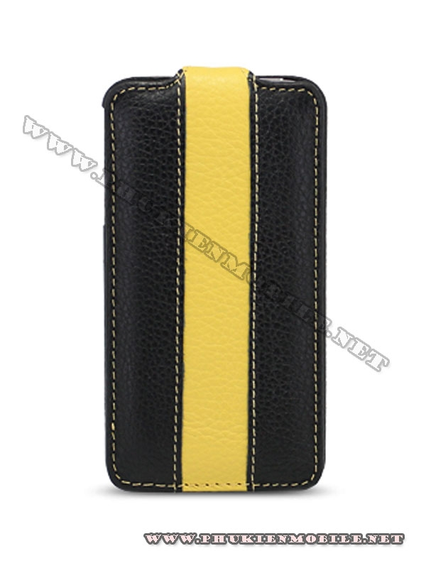Bao da iPhone 4 Melkco Leather Case - Jacka Type (Đen/Vàng LC) 2