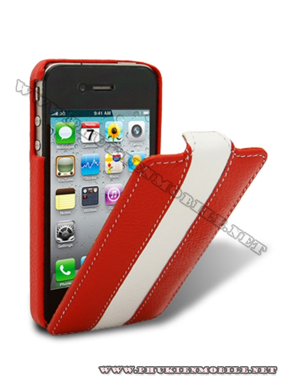 Bao da iPhone 4 Melkco Leather Case - Jacka Type (Đỏ/Trắng) 1