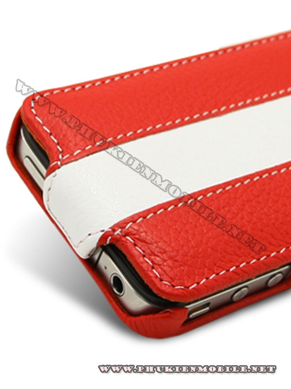 Bao da iPhone 4 Melkco Leather Case - Jacka Type (Đỏ/Trắng) 6