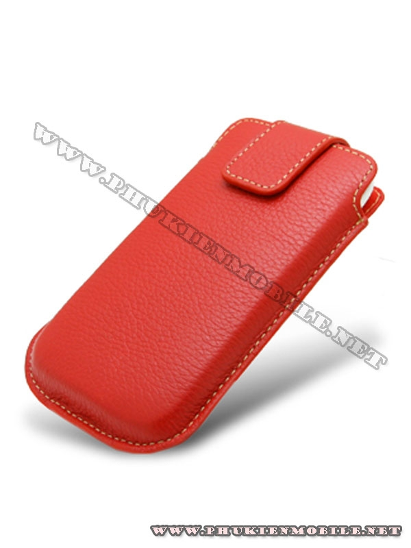 Bao cầm tay iPhone 4 Melkco Leather Case - Oto Holder Type màu đỏ 1