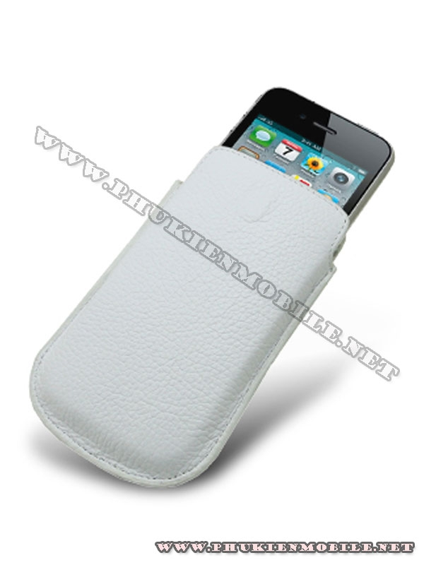 Bao cầm tay iPhone 4 Melkco Leather Case - Oto Holder Type màu trắng 3