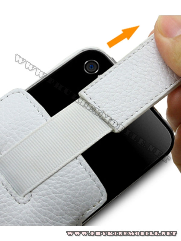 Bao cầm tay iPhone 4 Melkco Leather Case - Oto Holder Type màu trắng 4