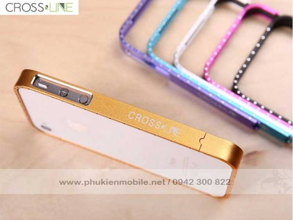 Viền iPhone 4/4S Crossline đính đá 1